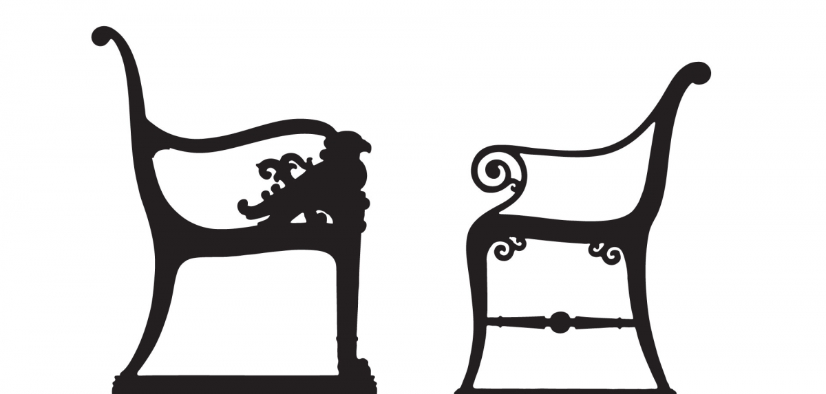 illustrations of two city benches
