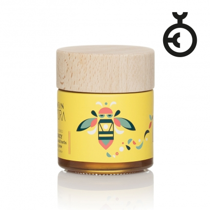 Minoan Spora honey packaging design in yellow background and an illustration of a bee