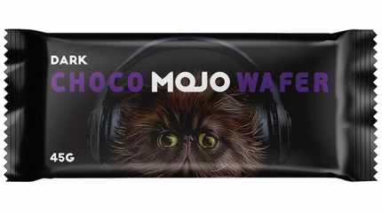 Choco wafer proposal with cat illustration in dark background